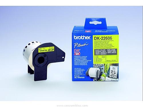 BROTHER CINTA DK22606(DK LABEL) NEGRO/AMARILLO 62 MMX15M LAMINADAS DK22606