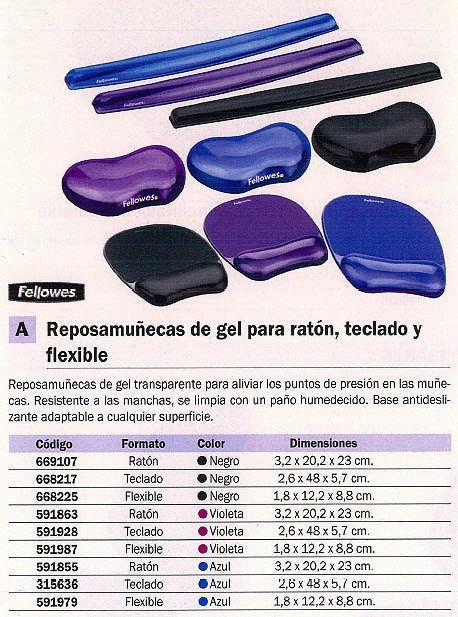 FELLOWES REPOSAMUÑECAS RATON BASE ANTIDESLIZANTE GEL AZUL 91141
