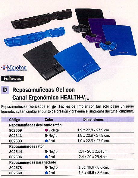 FELLOWES REPOSAMUÑECAS TECLADO BASE ANTIDESLIZANTE GEL NEGRO 9183201
