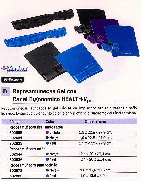 FELLOWES REPOSAMUÑECAS HEALTH-V TECLADO GEL AZUL 9183101