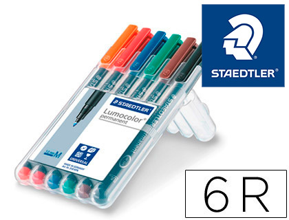 ROTULADOR STAEDTLER LUMOCOLOR RETROPROYECCION PUNTA DE FIBRA PERMANENTE 317 WP ESTUCHE 6 COLORES PUNTA MEDIA 317 WP6