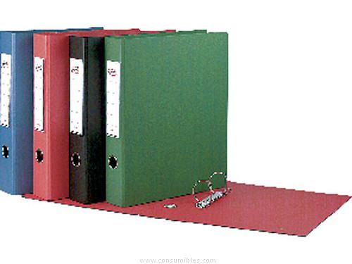 Carpetas de anillas ENVASE DE 2 UNIDADESPARDO CARPETA ANILLAS EXTRA PARDO FOLIO 4-40 MM NEGRO PVC 2480 N