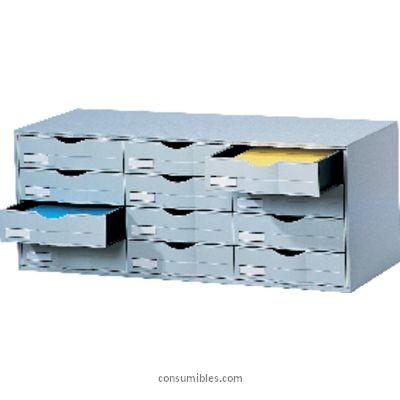 Mobiliario de clasificacion PAPERFLOW MODULO 12 CAJONES APILABLES A4 32,9 X 81,3 X 34,2 GRIS 9H4442.02