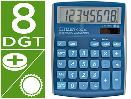 CALCULADORA CITIZEN SOBREMESA CDC-80 8 DIGITOS CELESTE SERIE WOW