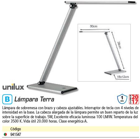 Complementos escritorio UNILUX LAMPARA LED TERRA GR METAL 400077409
