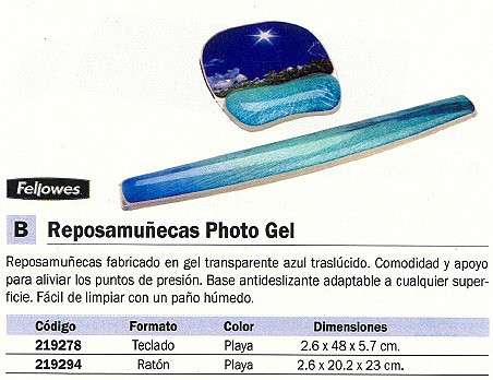 FELLOWES REPOSAMUÑECAS PHOTO GEL TECLADO BASE ANTIDESLIZANTE GEL PLAYA 9202701