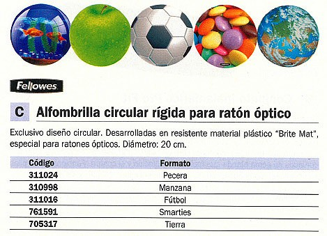 FELLOWES ALFOMBRILLA PARA RATON CIRCULAR FORMATO SMARTIES 5881203