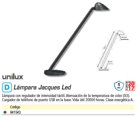 UNILUX LÁMPARA JACQUES LED NEGRO 400077403