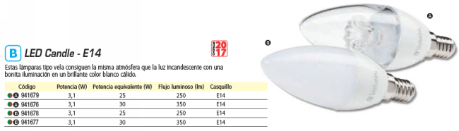 VERBATIM LED CANDLE E14 3.1W EQUIVALE A 25W - 2700K 250LM CLEAR 52636