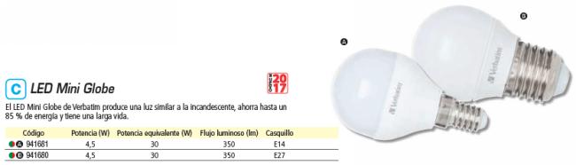 VERBATIM LED MINI GLOBE E14 3.1W EQUIVALE A 25W - 2700K 250LM FROST 52641