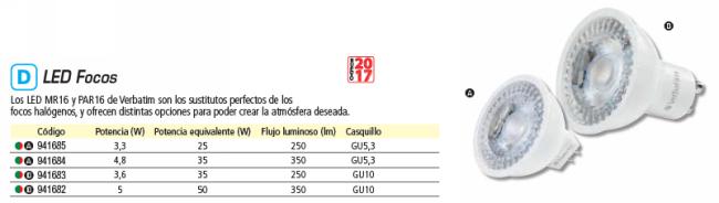 VERBATIM LED GU5.3 3.3W EQUIVALE A 25W - 2700K 250LM 35 GRADOS APERTURA 52645
