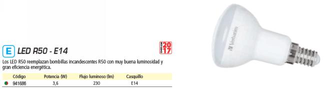 VERBATIM LED R50 E14 3.6W EQUIVALE A 45W - 2700K 230LM 35 GRADOS APERTURA 52649