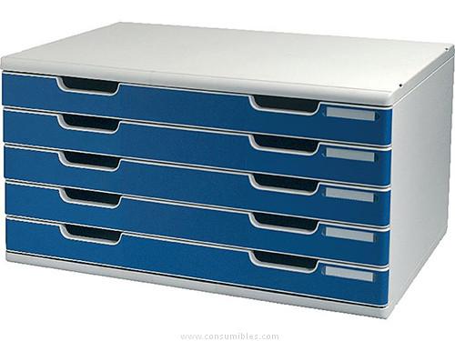 Complementos escritorio EXACOMPTA MÓDULO 5 CAJONES A3+ 350X288X320 AZUL/GRIS 322003D