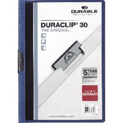 Dossiers con clip ENVASE DE 25 UNIDADES DURABLE DOSSIERS CLIP DURACLIP CAPACIDAD 30 HOJAS A4 NEGRO PVC 2200-01
