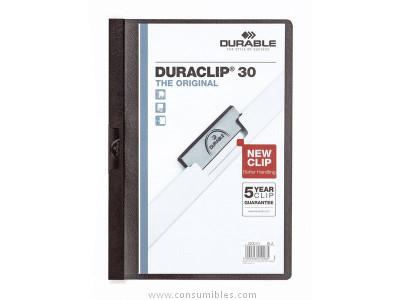 ENVASE DE 25 UNIDADES DURABLE DOSSIERS CLIP DURACLIP CAPACIDAD 30 HOJAS A4 NEGRO PVC 2200-01