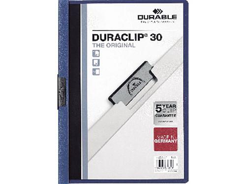 ENVASE DE 25 UNIDADESDURABLE DOSSIERS CLIP DURACLIP CAPACIDAD 30 HOJAS A4 NEGRO PVC 2200-01