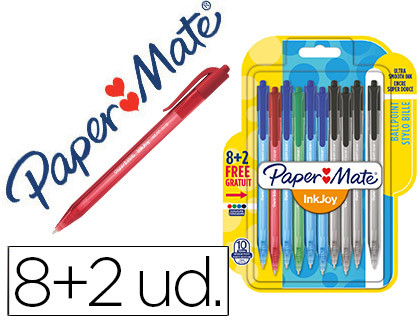 BOLIGRAFO PAPER MATE INKJOY 100 RETRACTIL PUNTA MEDIA TRAZO 1 MM PACK 8 + 2 UNIDADES COLORES SURTIDOS