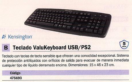 KENSINGTON TECLADO VALUKEYBOARD USB CON CABLE ORIFICIOS EVACUACION LIQUIDO DERRAMADO 1500109ES