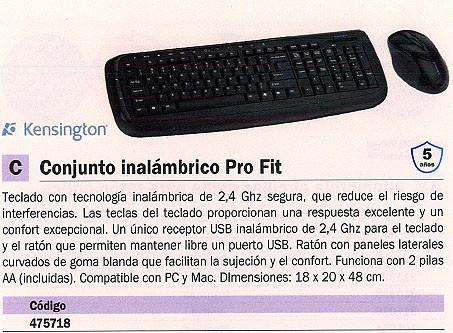 KENSINGTON TECLADO + RATON PRO FIT INALÁMBRICO K72338ESA