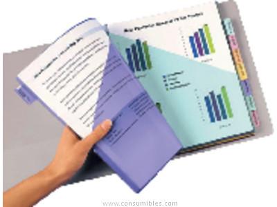 ENVASE DE 10 UNIDADES AVERY FUNDA CON PESTAÑAS PERSONALIZABLES A4 6 POSICIONES 5621501