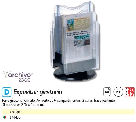 ARCHIVO 2000 EXPOSITOR A4 VERTICAL TRANSPARENTE 6106 CS TP