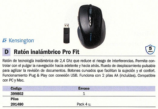 KENSINGTON RATÓN INALÁMBRICO PRO FIT OPTICO NEGRO K72370EU