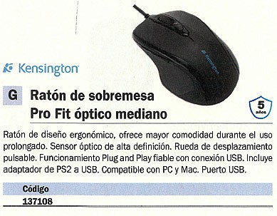 KENSINGTON RATÓN PRO FIT OPTICO NEGRO MEDIANO K72355EU