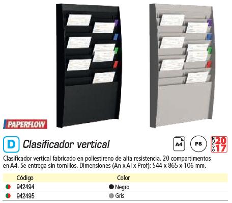 PAPERFLOW CLASIFICADOR VERTICAL 20 CASILLAS A4 (2 X 10) AL.86.5 X AN.54.4 X P.10.6 NEGRO A4V2X10.01
