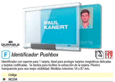ENVASE DE 10 UNIDADES DURABLE FUNDA PARA IDENTIFICADOR PUSHBOX MONO8922-19