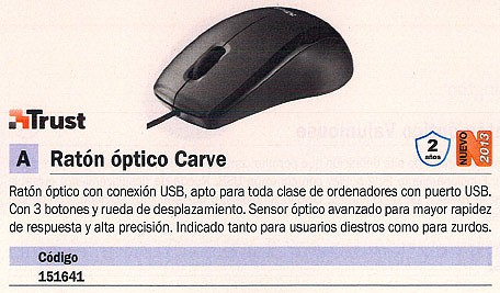 TRUST RATÓN CARVE OPTICO NEGRO MEDIANO 15862