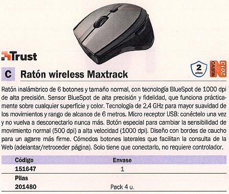 TRUST RATÓN INALÁMBRICO MAXTRACK OPTICO NEGRO/PLATA 17176