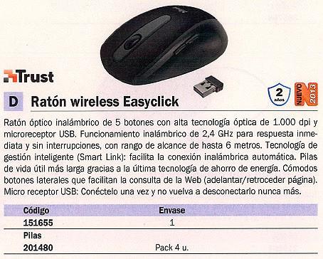 TRUST RATON INALÁMBRICO EASYCLICK OPTICO NEGRO 16536