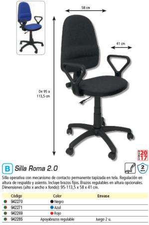 5 STAR SILLA ROMA 2.0 BRAZOS FIJOS ROJA 270CPARAN350JB12