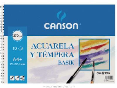 ENVASE DE 10 UNIDADES GUARRO CANSON PAPEL ACUARELA 10 HOJAS A3+ 370 G 200400697