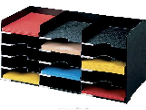 PAPERFLOW CASILLEROS CLASIFICACION 15 CASILLAS 674X304X313 NEGRO ETIQUETAS Y VISORES 531.01