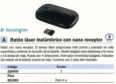 KENSINGTON RATÓN INALÁMBRICO SLIMBLADE LASER NEGRO K72334EU