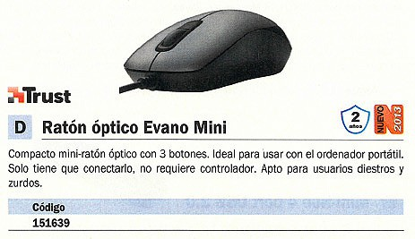 TRUST RATÓN EVANO MINI OPTICO NEGRO MEDIANO 16489