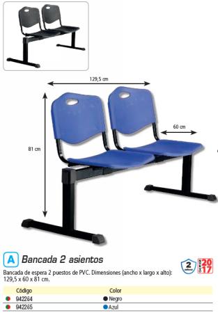 PIQUERAS Y CRESPO BANCADA 2 PUESTOS PVC AZUL B2PIAZ