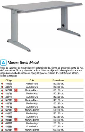 ROCADA MESA RECTANGULAR METAL ALUMINIO BLANCO 160X80 2002AC04