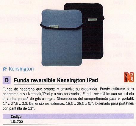 KENSINGTON FUNDA REVERSIBLE PARA IPAD NEOPRENO 11 PULGADAS 17X27.5X0.3 GRIS/NEGRO K62916EU