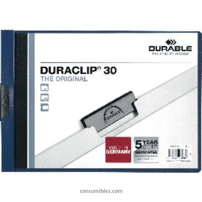 Dossiers con clip ENVASE DE 25 UNIDADES DURABLE DOSSIERS CLIP DURACLIP CAPACIDAD 30 HOJAS APAISADO AZUL OSCURO PVC 869081