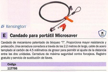 KENSINGTON CABLE MICROSAVER SEGURIDAD PORTATIL 2.2 M LONGITUD BLOQUEO EN PULGADAS T PULGADAS 64020