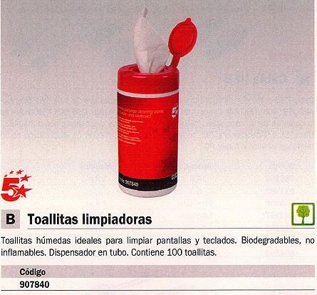 5 ESTRELLAS TOALIITAS LIMPIADORAS 100 UD HÚMEDAS BIODEGRADABLES 20450100