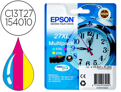 PACK 3 COLORES 27XL 109ML WF3620/3640/7110/7610