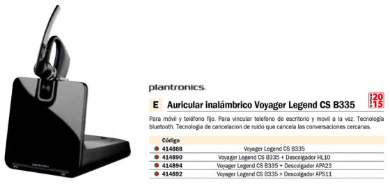 PLANTRONICS AURICULAR VOYAGER LEGEND CS,B335 MONOAURAL BLUETOOTH