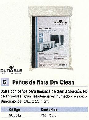 DURABLE PAÑOS FIBRA DRY CLEAN PACK 50 UD BOLSA 14,5X19,7 CM 5734