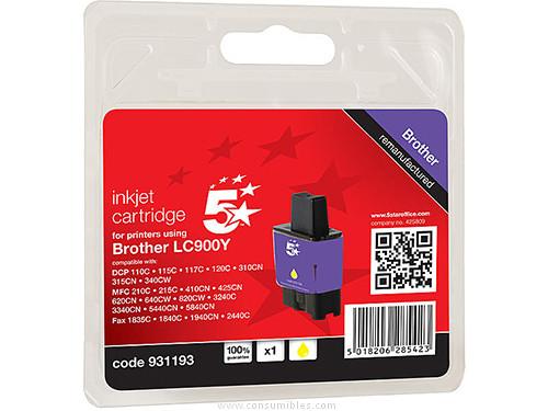 5 STAR CARTUCHOS INYECCION AMARILLO BROTHER LC900Y AMARILLO COMPATIBLE 111B090104
