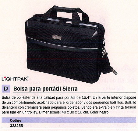 LIGHTPAK BOLSA PARA PORTATIL SIERRA POLIESTER 15 PULGADAS 41X30X8,5 CM.COLOR NEGRO 46112