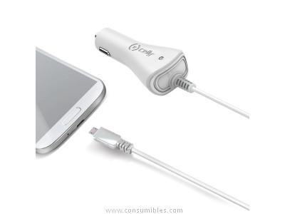 CELLY CARGADOR DE COCHE MICRO USB CON SALIDA 1A Y CABLE DE 1M BLANCO CCMICROW