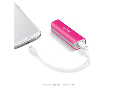 CELLY POWERBANK 2600 MAH CON CABLE MICRO USB COLOR ROSA PB2600PK